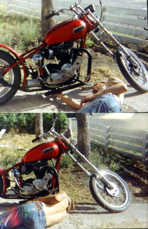 Neil Richard (Rick) Peterson working on motorcycle